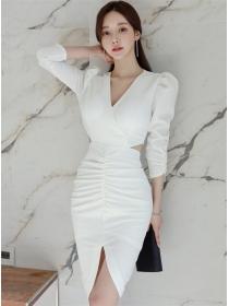 Wholesale Stylish V-neck Backless Pleated Slim Dress