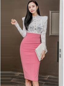 Elegant OL Flouncing Lace Blouse with High Waist Slim Skirt