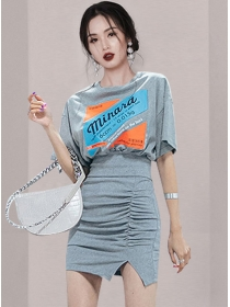 Pretty Summer Printings Batwing T-shirt with Pleated Skirt