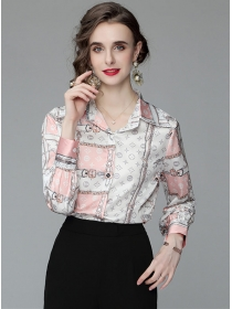 Wholesale Europe Flowers Printings Long Sleeve Blouse