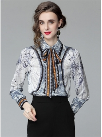 Retro Europ Tie Collar Printings Loosen Long Sleeve Blouse