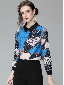 Hot Selling Doll Collar Color Block Printings Blouse