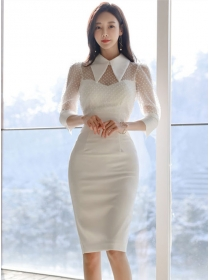 Modern Lady Gauze Splicing Shirt Collar Bodycon Dress
