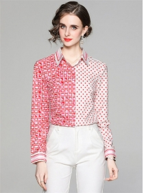 Europe Wholesale Color Block Dots Plaids Blouse
