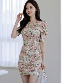 Wholesale Korea Round Neck Puff Sleeve Flowers Slim Dress