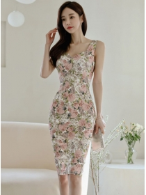 Wholesale Korea Backless Bowknot Flowers Slim Tank Dress