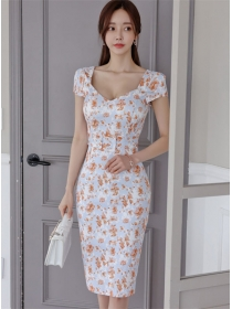 Summer OL Fashion Square Collar Flowers Skinny Dress