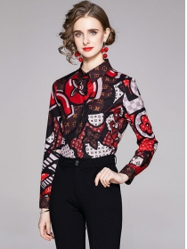 Retro Europe Color Block Flowers Long Sleeve Blouse