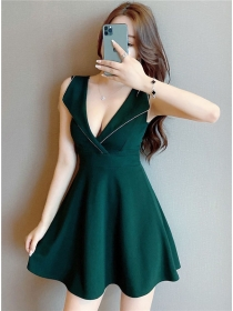 Sexy Stylish 3 Colors Tailored Low V-neck Tank Dress