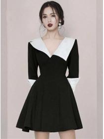 Quality Fashion Color Block V-neck Flouncing A-line Dress