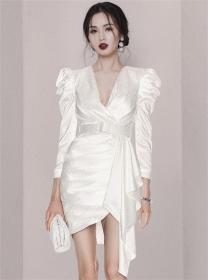 Modern Lady V-neck Belt Waist Puff Sleeve Flouncing Dress