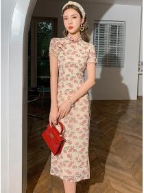 Elegant Retro Flowers Bodycon Cheongsam Long Dress