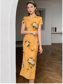 Charming Korea High Waist Flowers Cheongsam Slim Dress