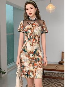 Retro Korea Gauze Shoulder Dragon Flowers Cheongsam Dress