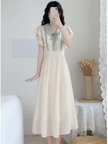 Preppy Fashion Bowknot Doll Collar Chiffon Long Dress