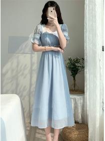Summer New High Waist Square Collar Long Dress