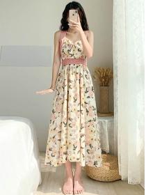 Hot Selling Flowers High Waist Straps Long Dress