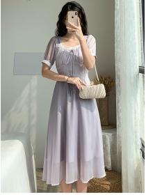 Retro Wholesale Fitted Tie Waist Chiffon A-line Dress