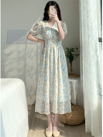 Pretty Fashion V-neck Elastic Waist Flowers Chiffon Dress