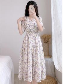 Lovely Summer Elastic Waist V-neck Flowers Dress