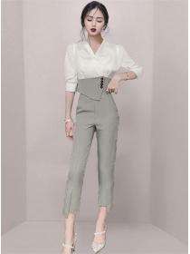 Korea Stylish V-neck Blouse with Houndstooth Skinny Pants