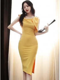 Modern OL Bowknot Off Shoulder Bodycon Tank Dress