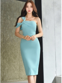 Sexy Korea 2 Colors Boat Neck Straps Slim Dress