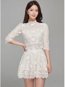 Grace Korea Stand Collar Lace Flouncing Dress Set