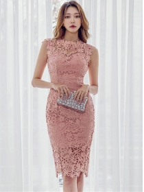 Modern Lady Lace Hollow Out Bodycon Tank Dress