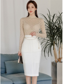 Modern OL Lace Blouse with Fitted Waist Midi Skirt
