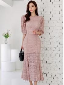 Korea Stylish 2 Colors Puff Sleeve Fishtail Slim Long Dress