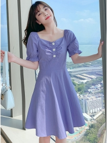 Modern Lady 2 Colors Pleated Square Collar Puff Sleeve Dress