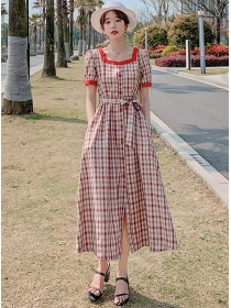 Classic Plaids Square Collar Single-breasted Tie Waist Dress