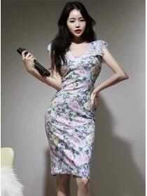 Retro Women Fashion Lace Splicing V-neck Slim Dress
