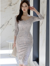 Modern Korea V-neck Lace Bodycon Women Dress