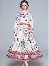 Boutique Fashion Round Collar Puff Sleeve Long Dress
