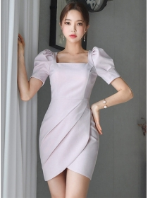 Fashion Square Collar Puff Sleeve Pleated Women Dress