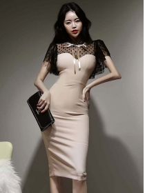 Retro Korea Gauze Dots Splicing Skinny Women Dress