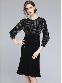 Retro Fashion Dots High Waist Double-breasted Slim Dress
