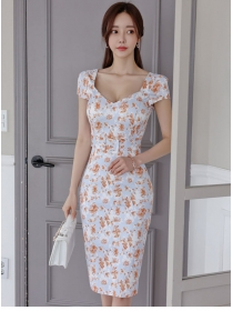 Wholesale Korea Square Collar Flowers Slim Women Dress
