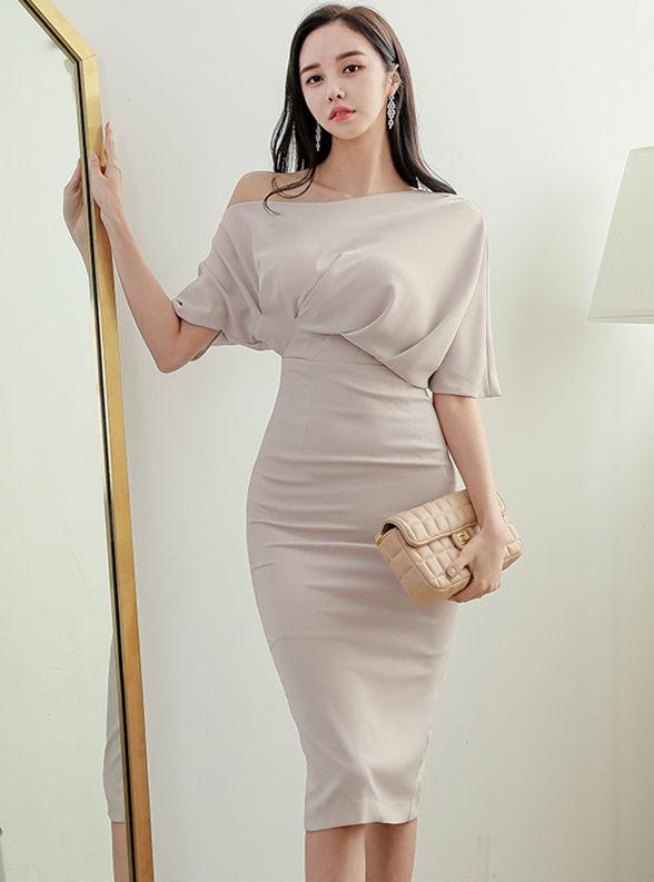 Modern OL Batwing Off Shoulder High Waist Slim Dress