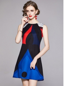 Retro Wholesale Color Block Printings Tank A-line Dress