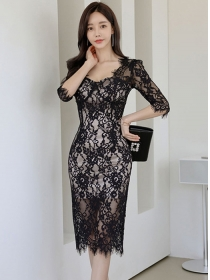 Elegant Lady 2 Colors Square Collar Lace Bodycon Dress