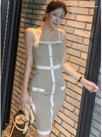 Fashion Summer Single-breasted Straps Knitting Dress
