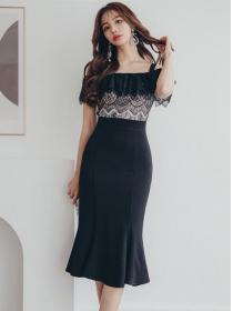 Grace Fashion Lace Flouncing Boat Neck Fishtail Slim Dress