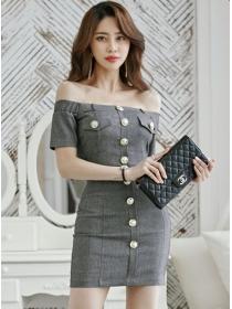 Korea Sexy Single-breasted Boat Neck Slim Women Dress