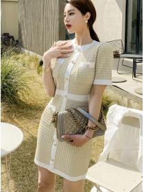 Korea Stylish Single-breasted Houndstooth Knitting Dress
