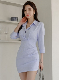Wholesale Korea Stripes Shirt Collar Pleated Women Dress