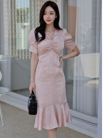 Korea Fashion Pleated V-neck Tie Waist Fishtail Dress