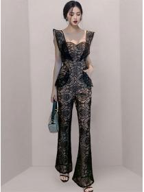 Modern Lady High Waist Lace Hollow Out Slim Long Jumpsuit